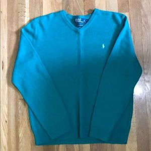 Polo Ralph Lauren Teal V-Neck Sweater Size L